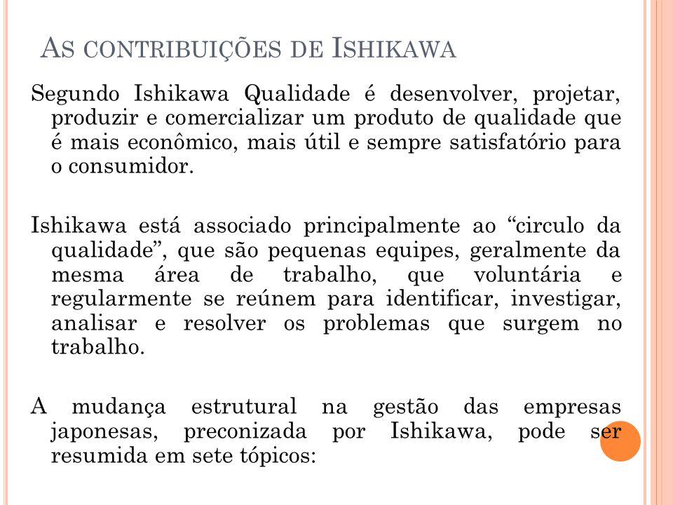 A S CONTRIBUIÇÕES DE I SHIKAWA Segundo Ishikawa Qualidade é desenvolver, projetar, produzir e comercializar um produto de qualidade que é mais econômi
