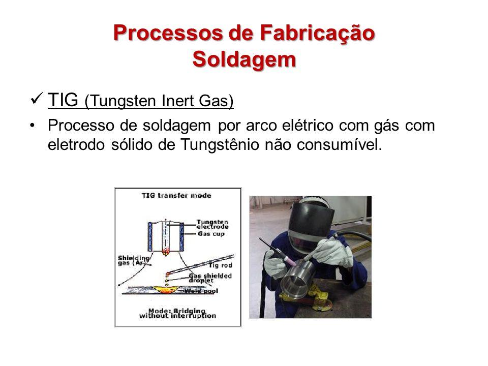 Processos de Fabricação Soldagem TIG (Tungsten Inert Gas) Processo de soldagem por arco elétrico com gás com eletrodo sólido de Tungstênio não consumível.