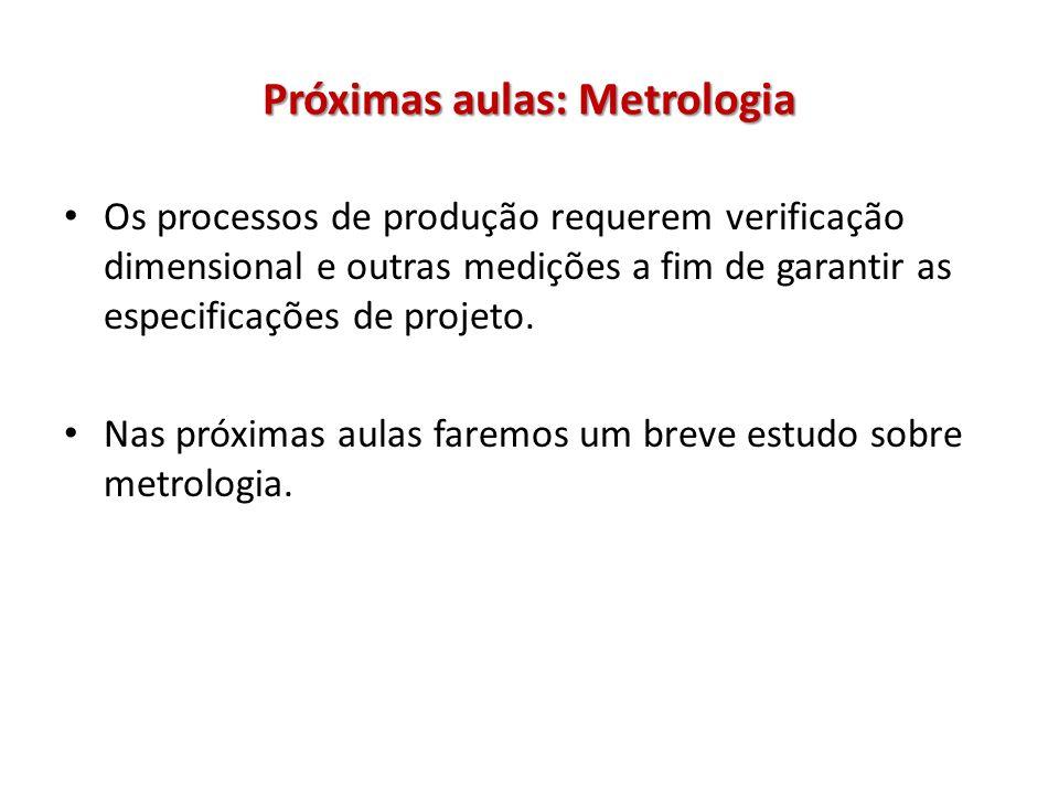 Próximas aulas: Metrologia Os processos de produção requerem verificação dimensional e outras medições a fim de garantir as especificações de projeto.
