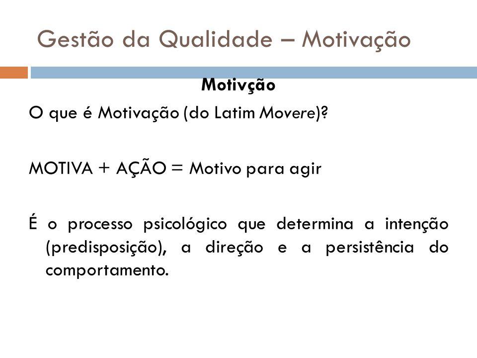 Gestão da Qualidade – Motivação Motivção O que é Motivação (do Latim Movere)? MOTIVA + AÇÃO = Motivo para agir É o processo psicológico que determina
