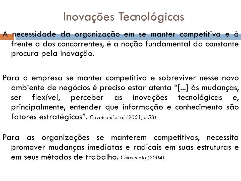 Inovações Tecnológicas A necessidade da organização em se manter competitiva e à frente a dos concorrentes, é a noção fundamental da constante procura