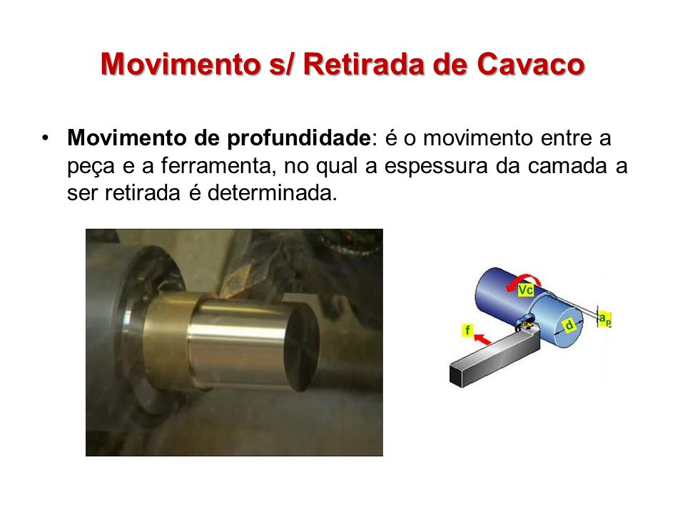 Movimento s/ Retirada de Cavaco Movimento de profundidade: é o movimento entre a peça e a ferramenta, no qual a espessura da camada a ser retirada é d