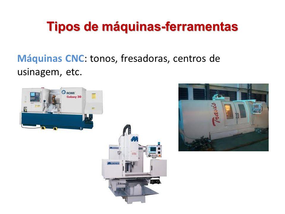 Tipos de máquinas-ferramentas Máquinas CNC: tonos, fresadoras, centros de usinagem, etc.