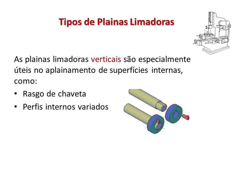 Tipos de Plainas Limadoras As plainas limadoras verticais são especialmente úteis no aplainamento de superfícies internas, como: Rasgo de chaveta Perfis internos variados