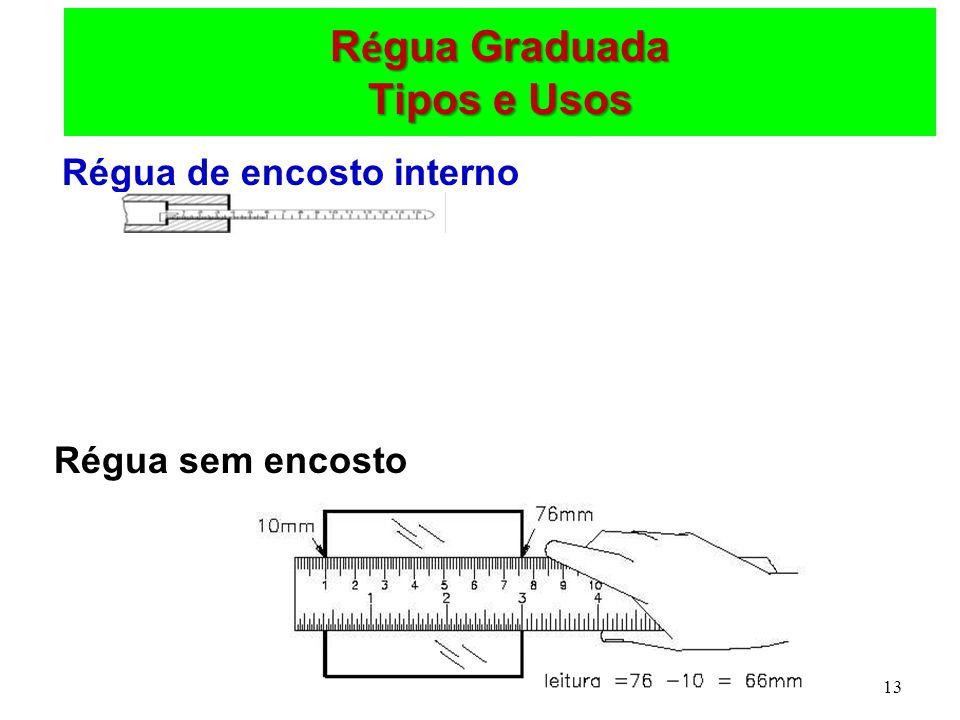 13 R é gua Graduada Tipos e Usos Régua de encosto interno Régua sem encosto