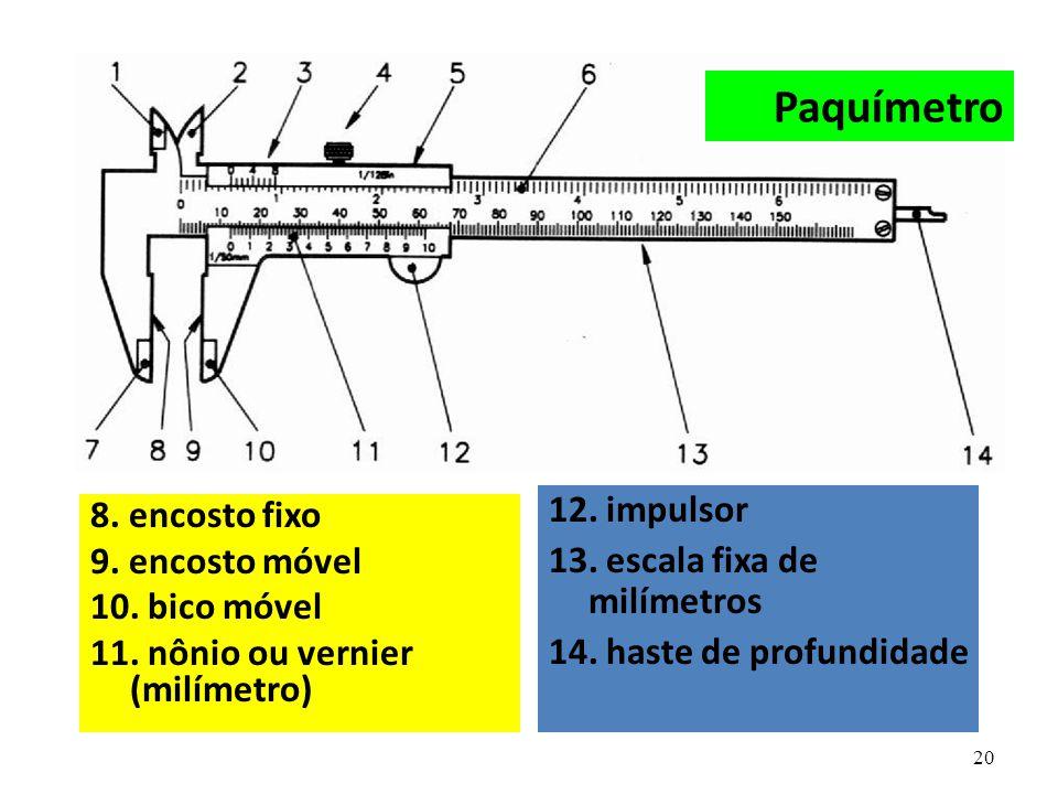 20 8. encosto fixo 9. encosto móvel 10. bico móvel 11. nônio ou vernier (milímetro) 12. impulsor 13. escala fixa de milímetros 14. haste de profundida