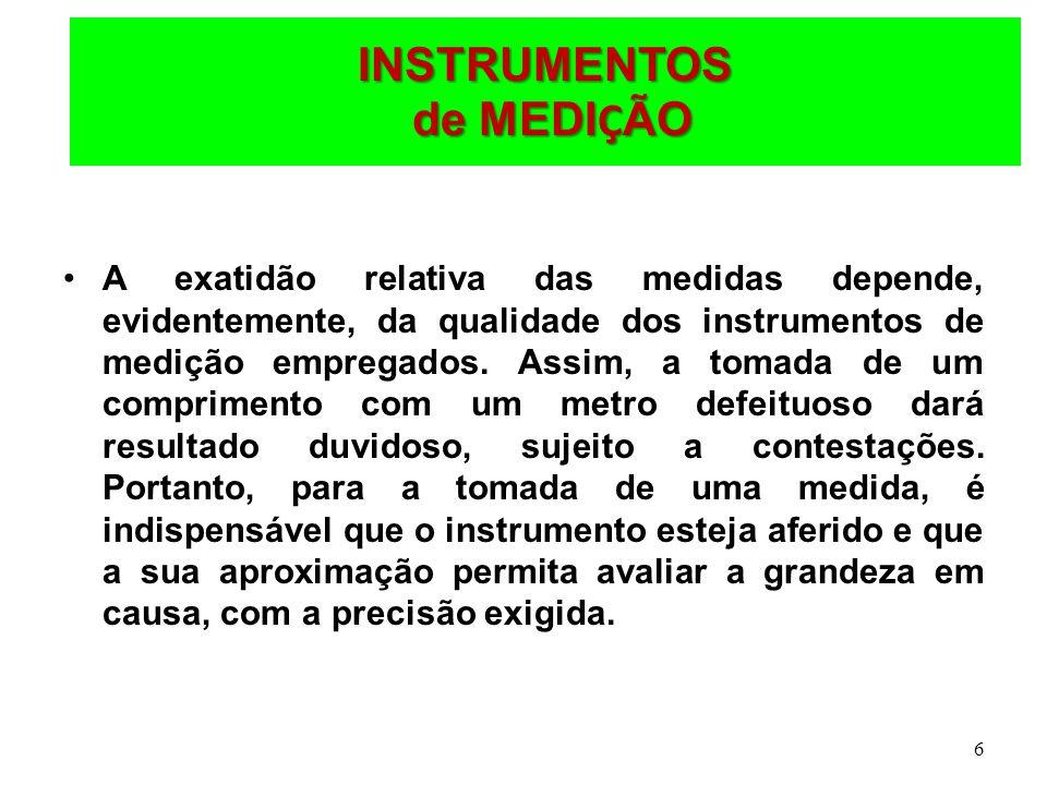 6 INSTRUMENTOS de MEDI Ç ÃO A exatidão relativa das medidas depende, evidentemente, da qualidade dos instrumentos de medição empregados. Assim, a toma