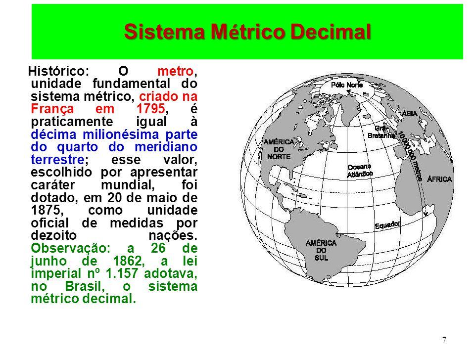 7 Sistema M é trico Decimal Histórico: O metro, unidade fundamental do sistema métrico, criado na França em 1795, é praticamente igual à décima milionésima parte do quarto do meridiano terrestre; esse valor, escolhido por apresentar caráter mundial, foi dotado, em 20 de maio de 1875, como unidade oficial de medidas por dezoito nações.
