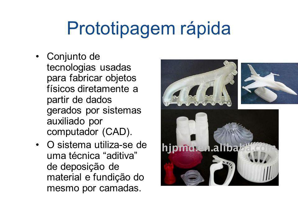 Prototipagem rápida Conjunto de tecnologias usadas para fabricar objetos físicos diretamente a partir de dados gerados por sistemas auxiliado por comp