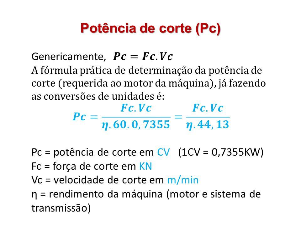 Potência de corte (Pc)