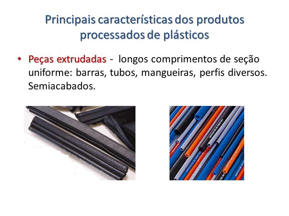 Principais características dos produtos processados de plásticos Peças extrudadas Peças extrudadas - longos comprimentos de seção uniforme: barras, tu