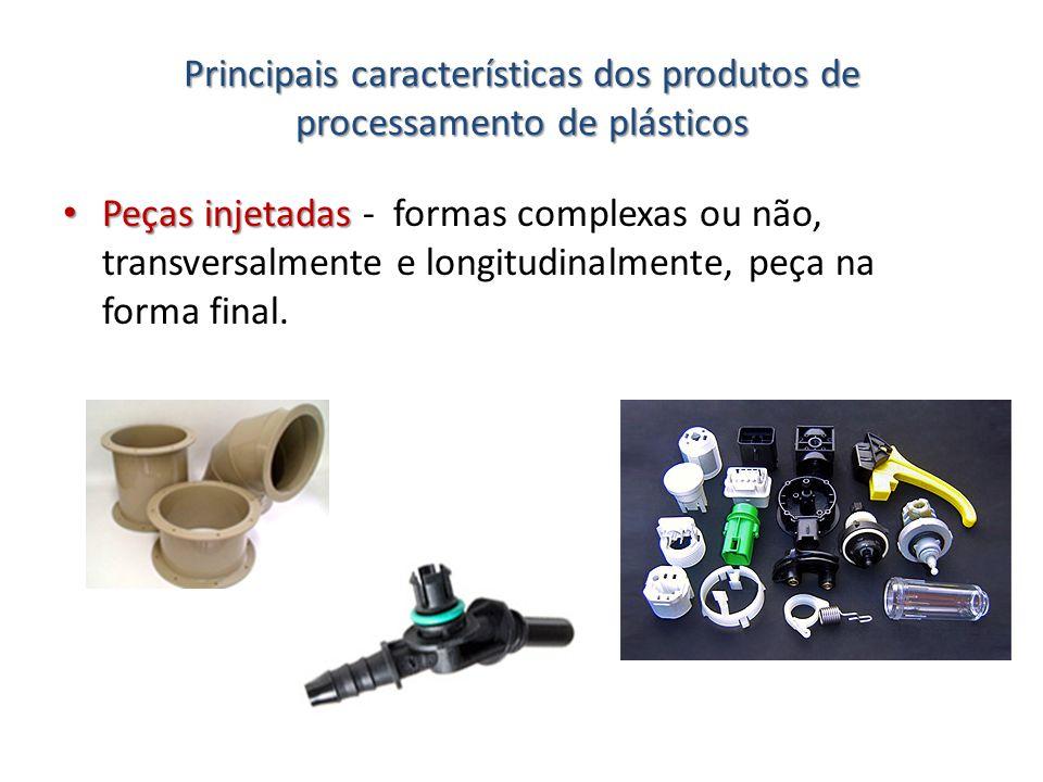 Principais características dos produtos de processamento de plásticos Peças injetadas Peças injetadas - formas complexas ou não, transversalmente e lo