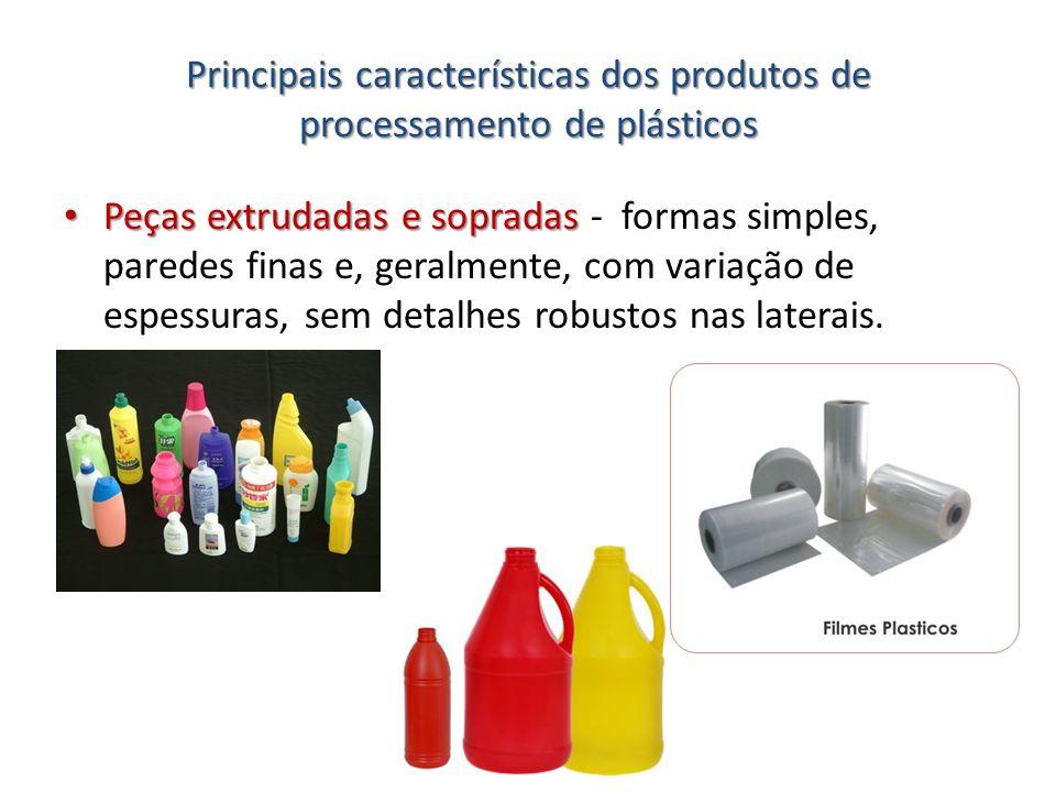 Principais características dos produtos de processamento de plásticos Peças extrudadas e sopradas Peças extrudadas e sopradas - formas simples, parede