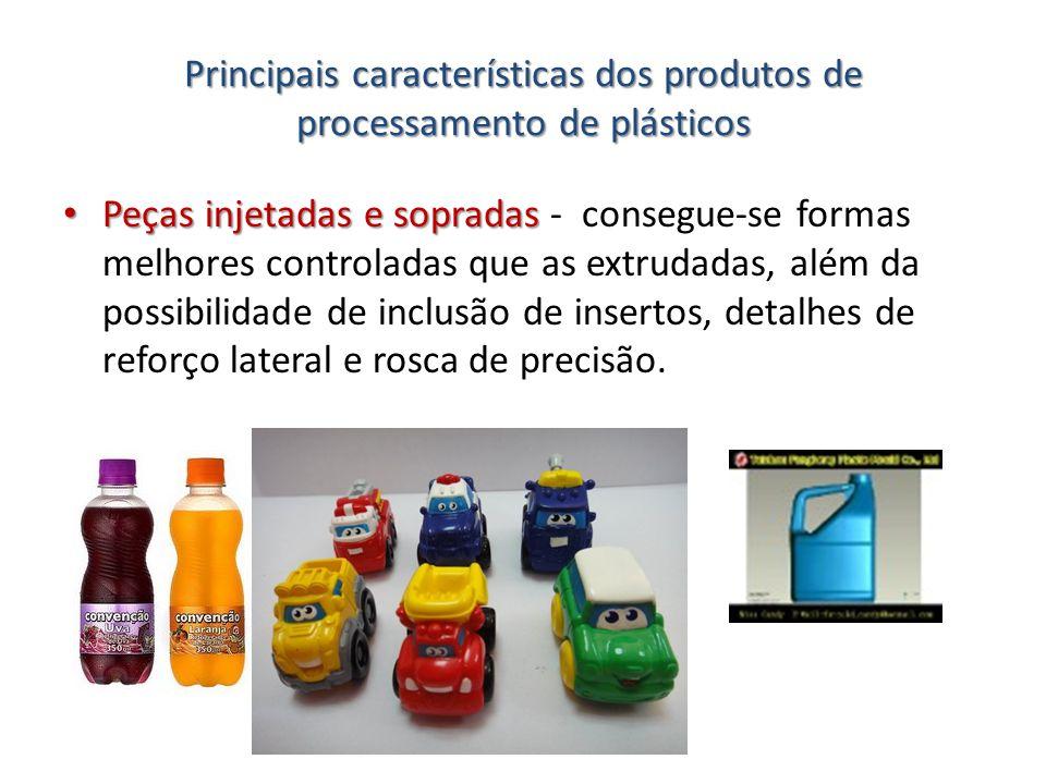Principais características dos produtos de processamento de plásticos Peças injetadas e sopradas Peças injetadas e sopradas - consegue-se formas melho