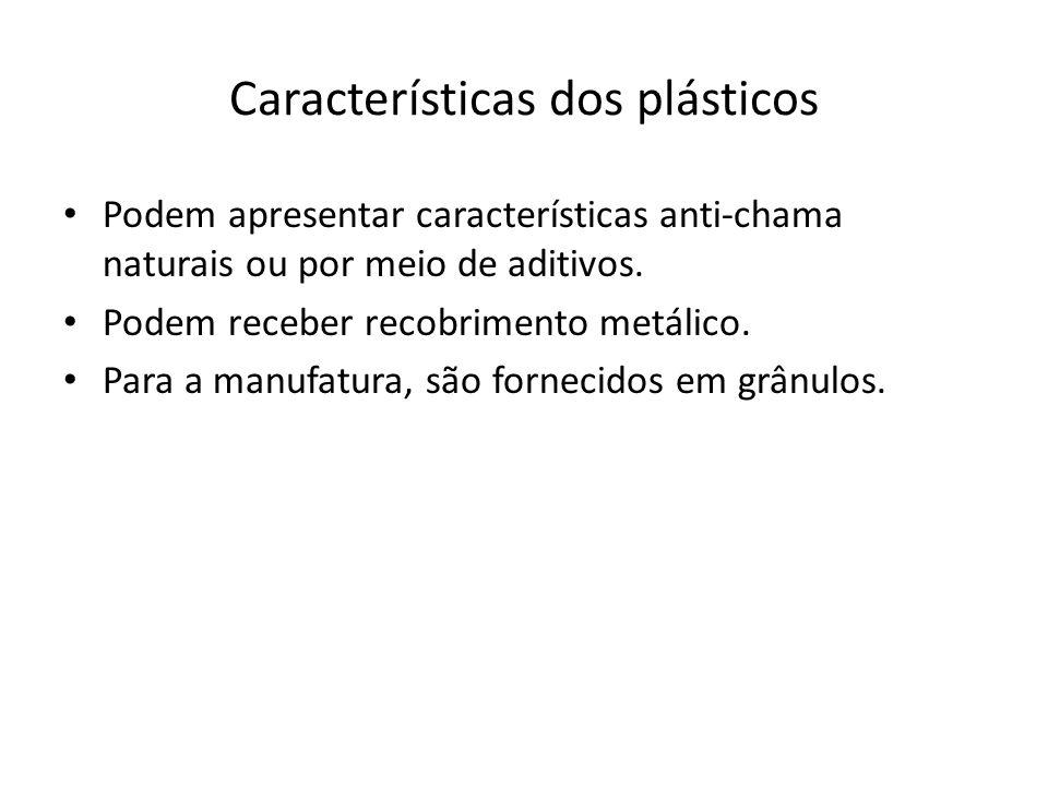 Características dos plásticos Podem apresentar características anti-chama naturais ou por meio de aditivos. Podem receber recobrimento metálico. Para