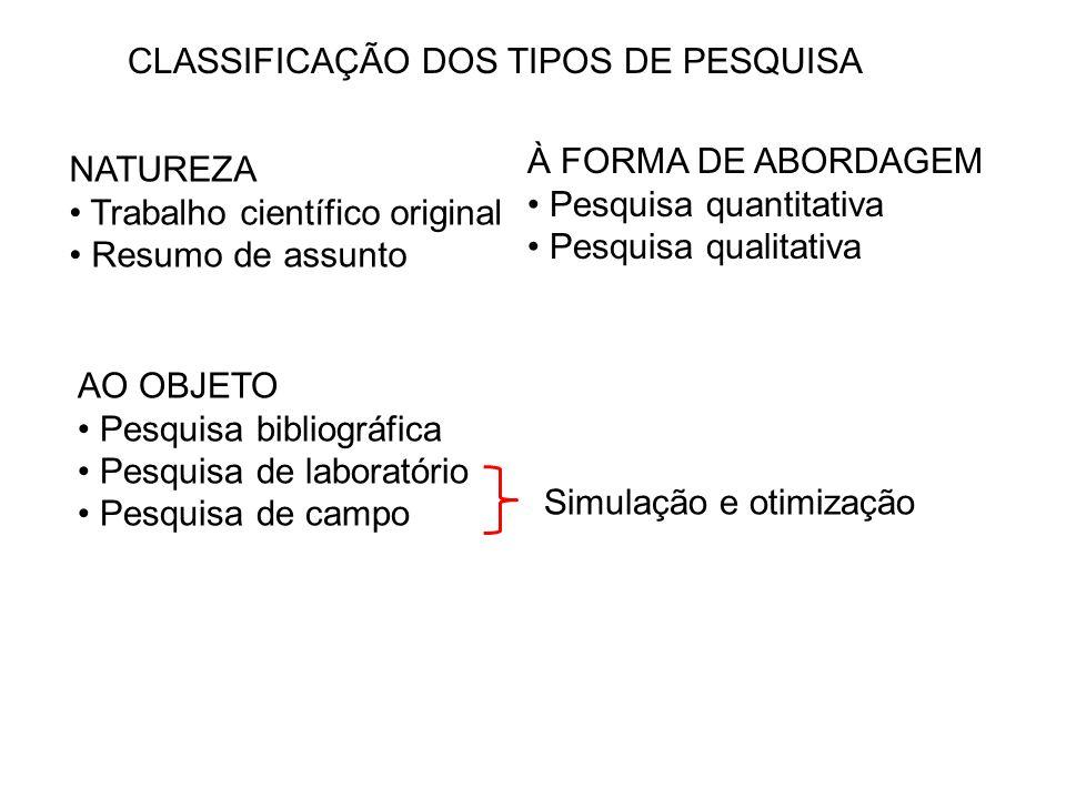 NATUREZA Trabalho científico original Resumo de assunto AO OBJETO Pesquisa bibliográfica Pesquisa de laboratório Pesquisa de campo À FORMA DE ABORDAGE