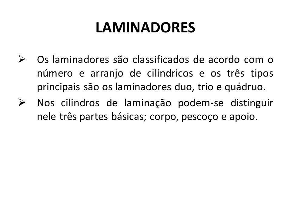 LAMINADORES Os laminadores são classificados de acordo com o número e arranjo de cilíndricos e os três tipos principais são os laminadores duo, trio e quádruo.