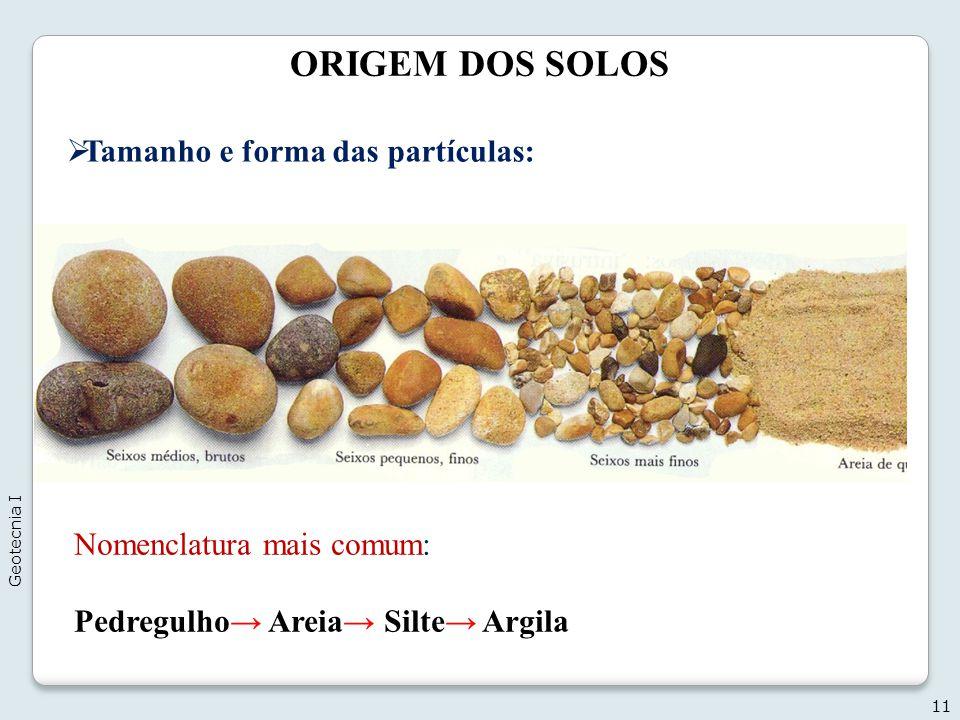 ORIGEM DOS SOLOS 11 Tamanho e forma das partículas: Nomenclatura mais comum: Pedregulho Areia Silte Argila Geotecnia I