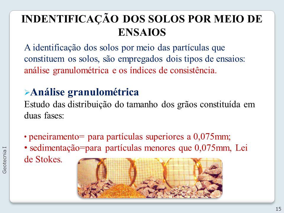 INDENTIFICAÇÃO DOS SOLOS POR MEIO DE ENSAIOS 15 A identificação dos solos por meio das partículas que constituem os solos, são empregados dois tipos d