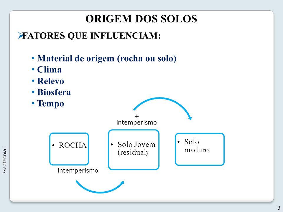ORIGEM DOS SOLOS FATORES QUE INFLUENCIAM: Material de origem (rocha ou solo) Clima Relevo Biosfera Tempo 3 ROCHA intemperismo Solo Jovem (residual ) +