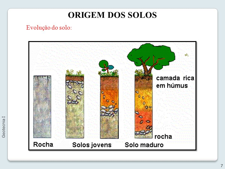 ORIGEM DOS SOLOS 7 Evolução do solo : Geotecnia I