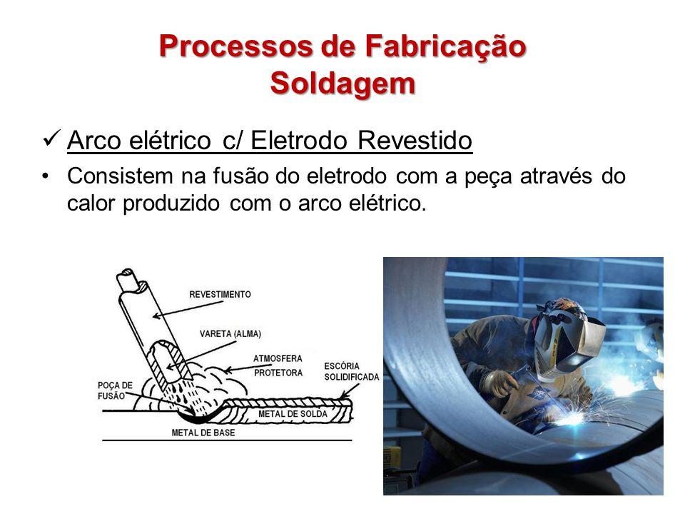 Processos de Fabricação Soldagem Arco elétrico c/ Eletrodo Revestido Consistem na fusão do eletrodo com a peça através do calor produzido com o arco e