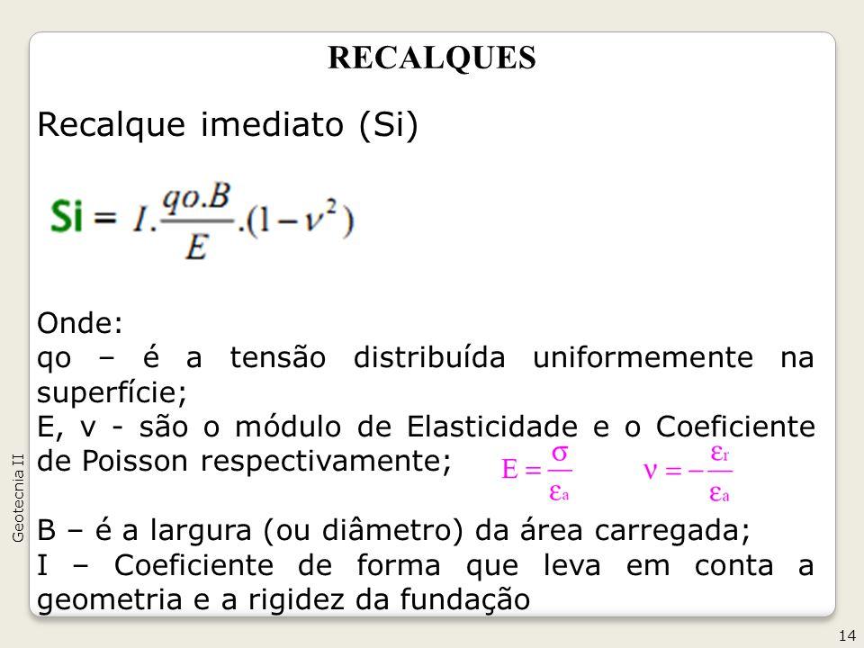 RECALQUES Recalque imediato (Si) Onde: qo – é a tensão distribuída uniformemente na superfície; E, ν - são o módulo de Elasticidade e o Coeficiente de