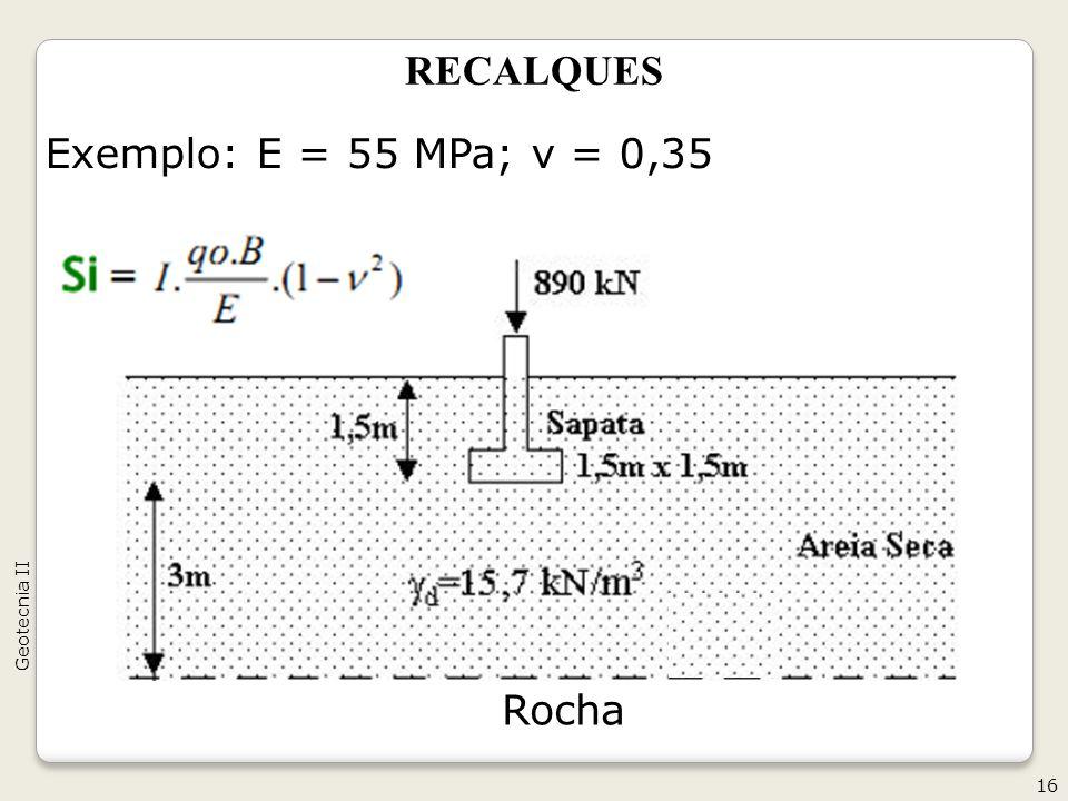 RECALQUES Exemplo: E = 55 MPa; v = 0,35 16 Geotecnia II Rocha