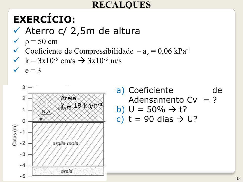 RECALQUES 33 Geotecnia II EXERCÍCIO: Aterro c/ 2,5m de altura ρ = 50 cm Coeficiente de Compressibilidade – a v = 0,06 kPa -1 k = 3x10 -6 cm/s 3x10 -8 m/s e = 3 a)Coeficiente de Adensamento Cv = .