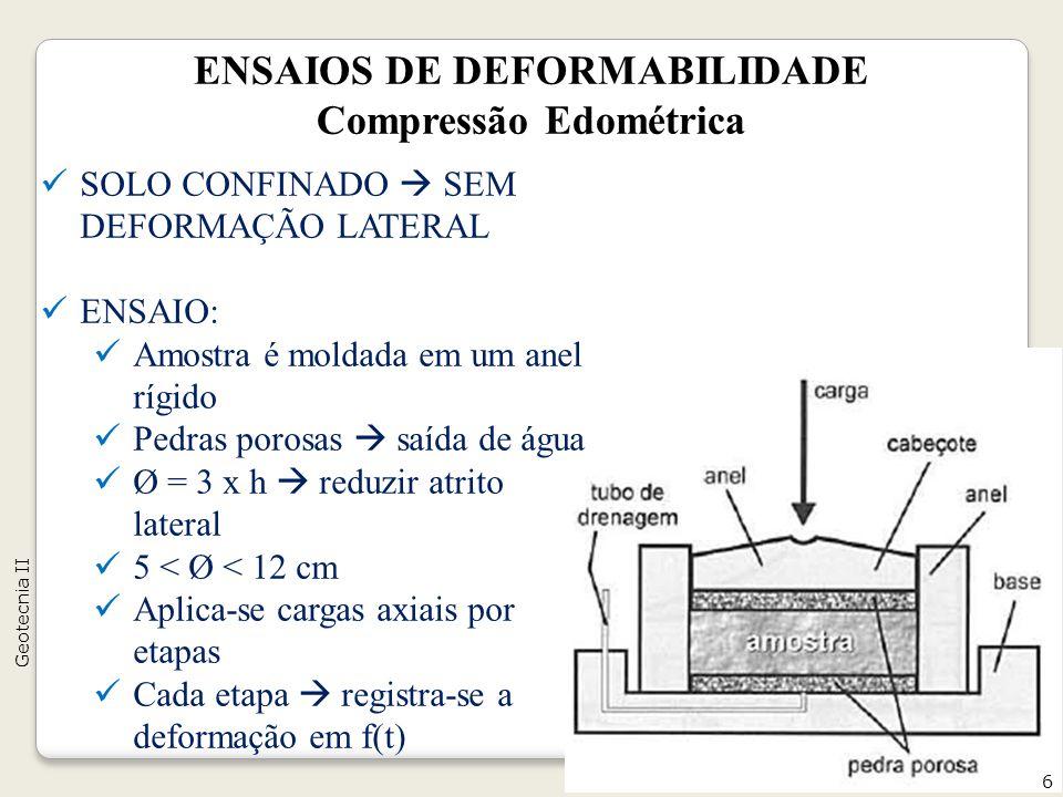 ENSAIOS DE DEFORMABILIDADE Compressão Edométrica SOLO CONFINADO SEM DEFORMAÇÃO LATERAL ENSAIO: Amostra é moldada em um anel rígido Pedras porosas saída de água Ø = 3 x h reduzir atrito lateral 5 < Ø < 12 cm Aplica-se cargas axiais por etapas Cada etapa registra-se a deformação em f(t) 6 Geotecnia II