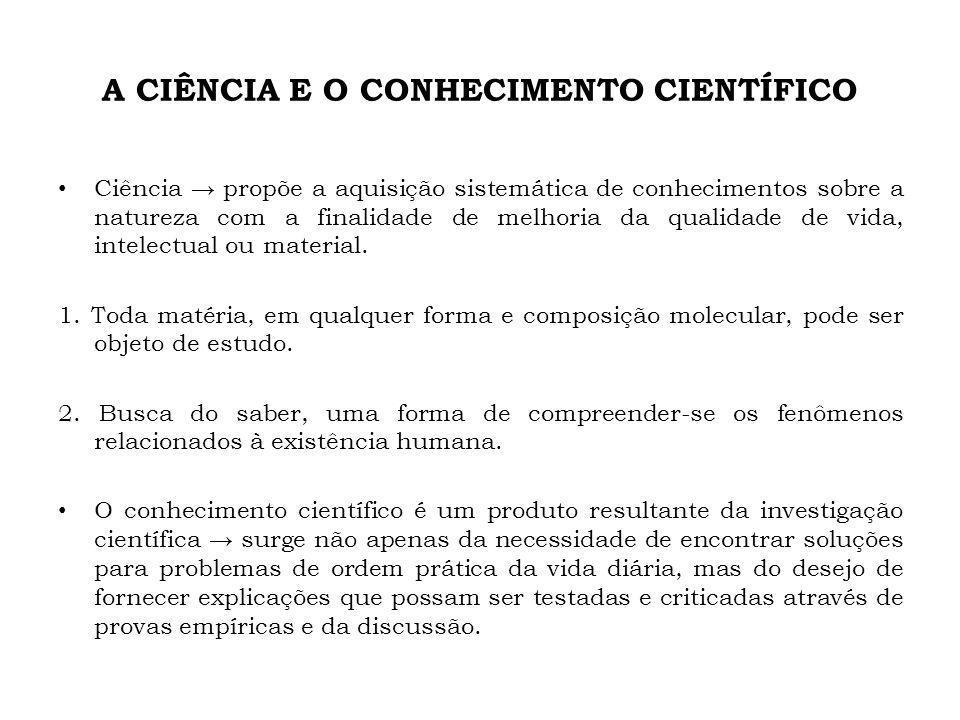 A CIÊNCIA E O CONHECIMENTO CIENTÍFICO Ciência propõe a aquisição sistemática de conhecimentos sobre a natureza com a finalidade de melhoria da qualida