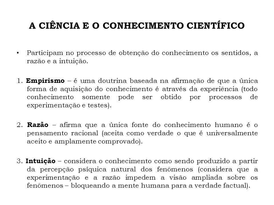A CIÊNCIA E O CONHECIMENTO CIENTÍFICO Participam no processo de obtenção do conhecimento os sentidos, a razão e a intuição. 1. Empirismo – é uma doutr