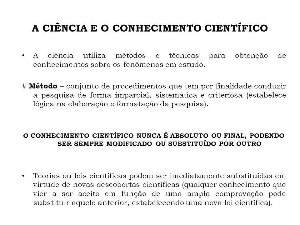 A CIÊNCIA E O CONHECIMENTO CIENTÍFICO A ciência utiliza métodos e técnicas para obtenção de conhecimentos sobre os fenômenos em estudo. # Método – con