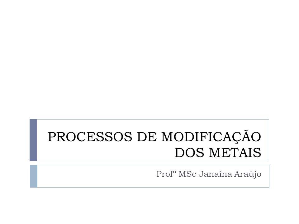 PROCESSOS DE MODIFICAÇÃO DOS METAIS Profª MSc Janaína Araújo