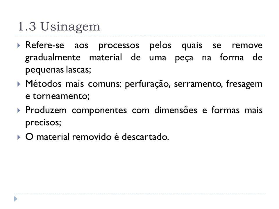 1.3 Usinagem Refere-se aos processos pelos quais se remove gradualmente material de uma peça na forma de pequenas lascas; Métodos mais comuns: perfura
