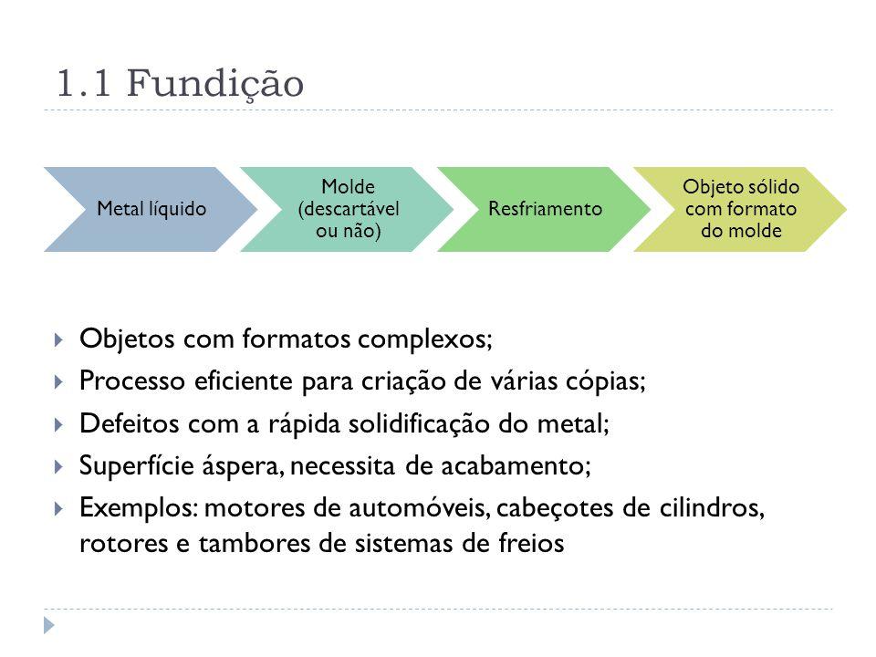 1.1 Fundição Metal líquido Molde (descartável ou não) Resfriamento Objeto sólido com formato do molde Objetos com formatos complexos; Processo eficien