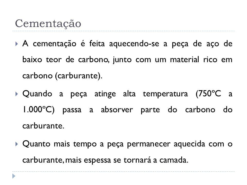 A cementação é feita aquecendo-se a peça de aço de baixo teor de carbono, junto com um material rico em carbono (carburante). Quando a peça atinge alt