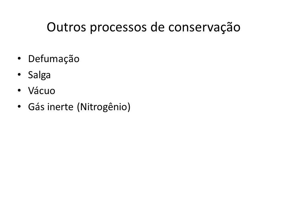 Outros processos de conservação Defumação Salga Vácuo Gás inerte (Nitrogênio)