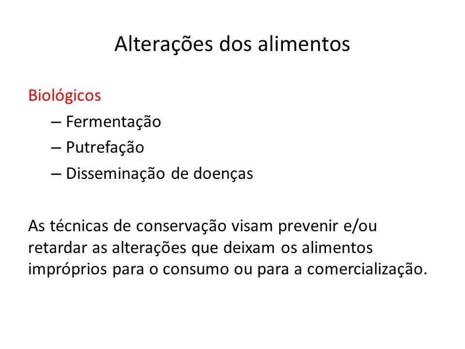 Conservação pelo uso do calor Pasteurização Branqueamento Apertização Esterilização Secagem e Desidratação