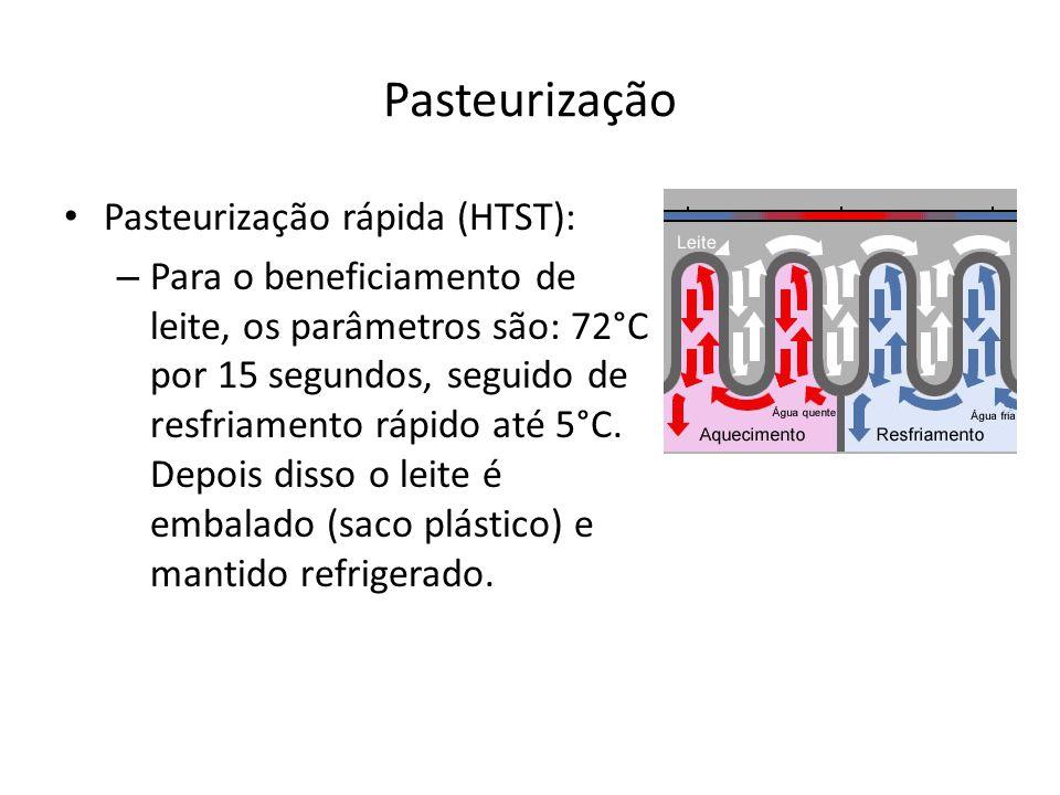 Pasteurização Pasteurização rápida (HTST): – Para o beneficiamento de leite, os parâmetros são: 72°C por 15 segundos, seguido de resfriamento rápido a