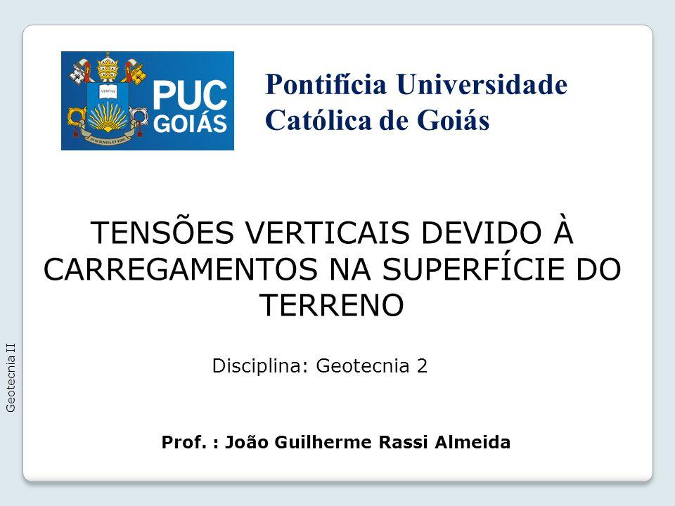 TENSÕES VERTICAIS DEVIDO À CARREGAMENTOS NA SUPERFÍCIE DO TERRENO Geotecnia II Prof.
