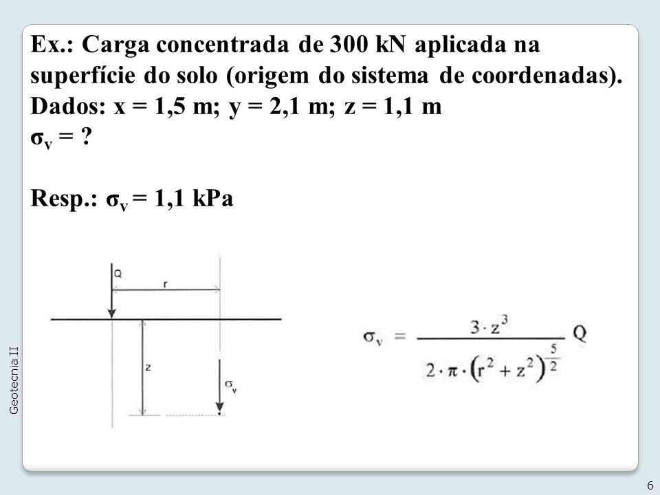 6 Geotecnia II Ex.: Carga concentrada de 300 kN aplicada na superfície do solo (origem do sistema de coordenadas).
