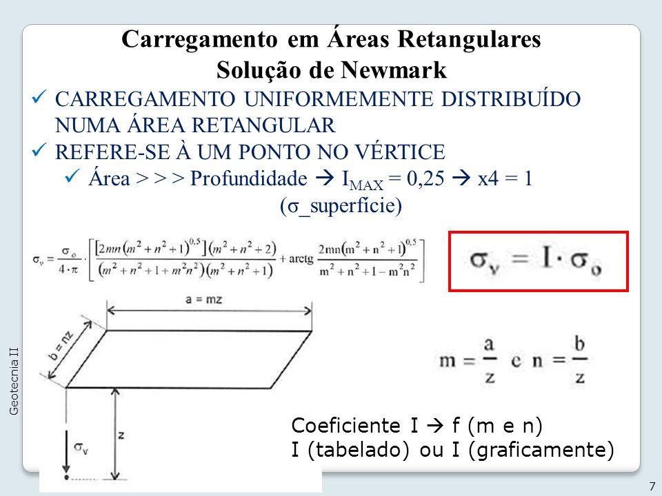 7 Geotecnia II Carregamento em Áreas Retangulares Solução de Newmark CARREGAMENTO UNIFORMEMENTE DISTRIBUÍDO NUMA ÁREA RETANGULAR REFERE-SE À UM PONTO NO VÉRTICE Área > > > Profundidade I MAX = 0,25 x4 = 1 (σ_superfície) Coeficiente I f (m e n) I (tabelado) ou I (graficamente)