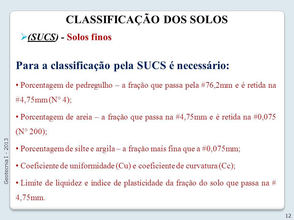 CLASSIFICAÇÃO DOS SOLOS (SUCS) - Solos finos 12 Geotecnia I - 2013 Para a classificação pela SUCS é necessário: Porcentagem de pedregulho – a fração q