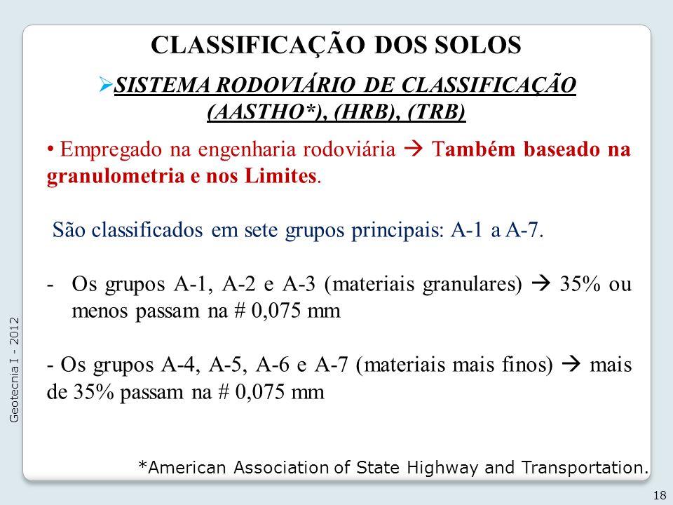 CLASSIFICAÇÃO DOS SOLOS SISTEMA RODOVIÁRIO DE CLASSIFICAÇÃO (AASTHO*), (HRB), (TRB) 18 Geotecnia I - 2012 Empregado na engenharia rodoviária Também ba