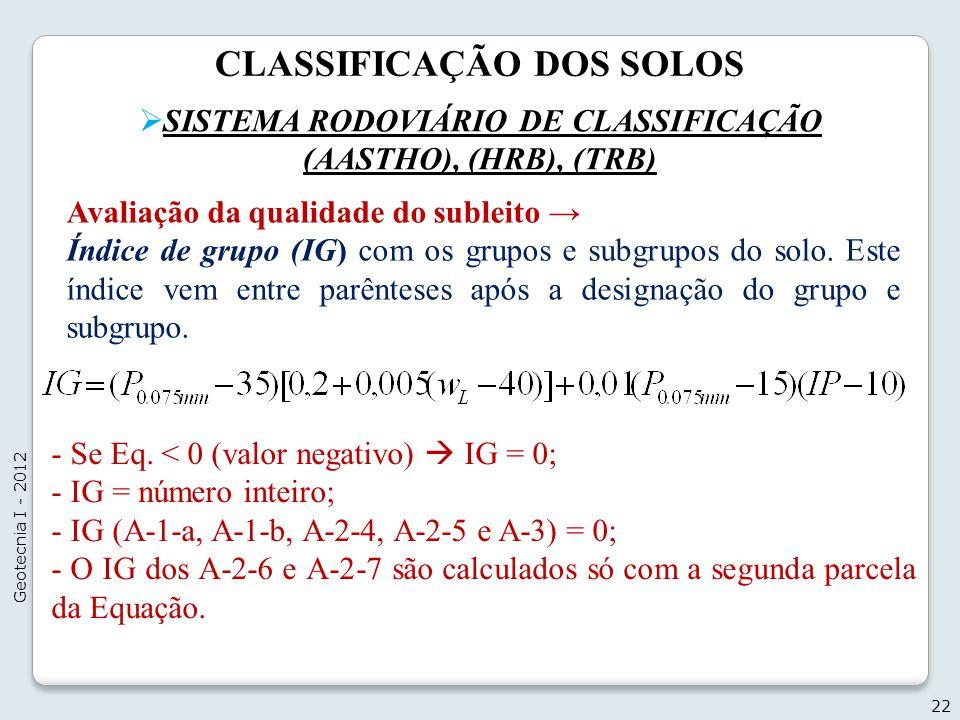 CLASSIFICAÇÃO DOS SOLOS SISTEMA RODOVIÁRIO DE CLASSIFICAÇÃO (AASTHO), (HRB), (TRB) 22 Geotecnia I - 2012 Avaliação da qualidade do subleito Índice de