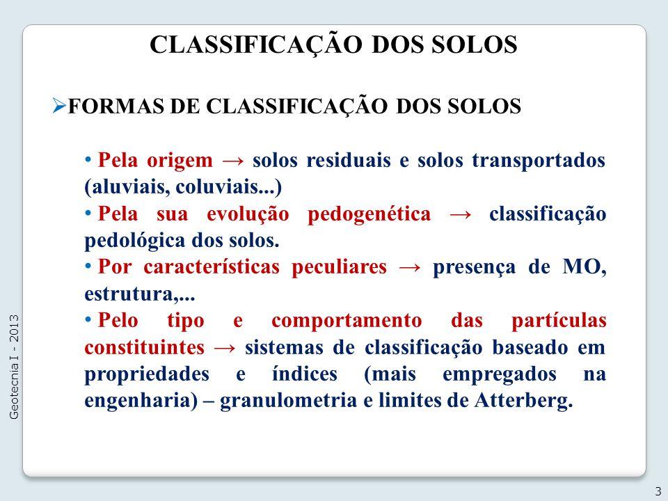 CLASSIFICAÇÃO DOS SOLOS FORMAS DE CLASSIFICAÇÃO DOS SOLOS Pela origem solos residuais e solos transportados (aluviais, coluviais...) Pela sua evolução
