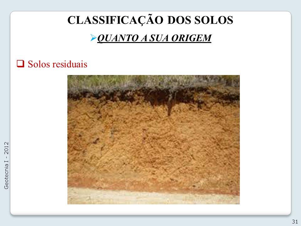 CLASSIFICAÇÃO DOS SOLOS QUANTO A SUA ORIGEM 31 Geotecnia I - 2012 Solos residuais