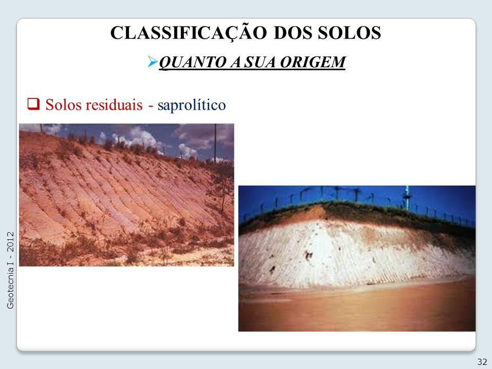 CLASSIFICAÇÃO DOS SOLOS QUANTO A SUA ORIGEM 32 Geotecnia I - 2012 Solos residuais - saprolítico
