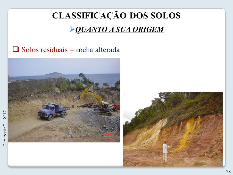 CLASSIFICAÇÃO DOS SOLOS QUANTO A SUA ORIGEM 33 Geotecnia I - 2012 Solos residuais – rocha alterada